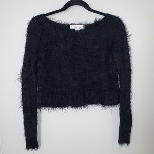 Decree Faux Fur Cropped Black Sweater